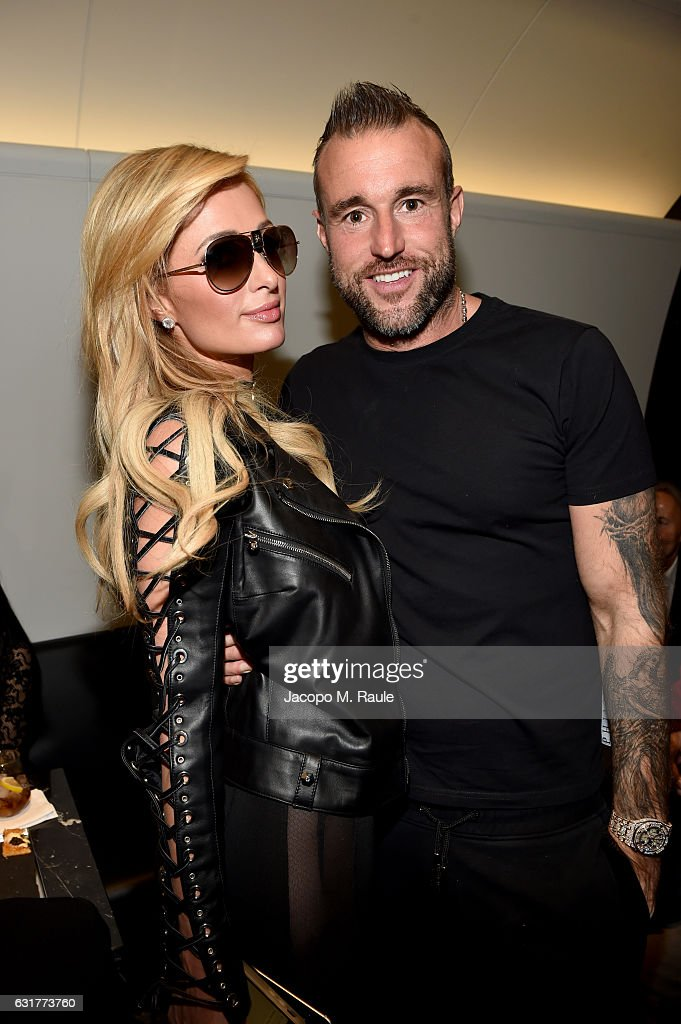 Paris Hilton and Philipp Plein attend Philipp Plein Boutique Opening during Milan Men's Fashion Week Fall/Winter 2017/18 on January 15, 2017 in Milan, Italy.