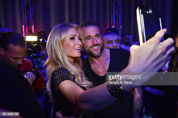 Paris Hilton and Philipp Plein attend the Plein Sport party during Milan Men's Fashion Week Fall/Winter 2017/18 on January 14 2017 in Milan Italy
