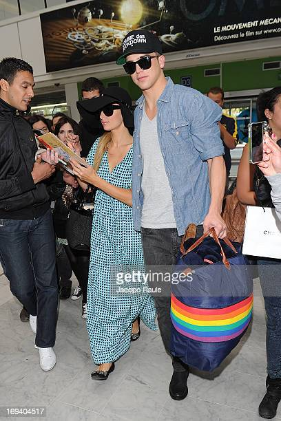 Paris Hilton and River Viiperi are seen arriving at Nice airport during The 66th Annual Cannes Film Festival on May 24 2013 in Nice France