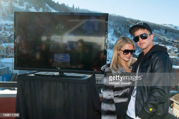 Paris Hilton and River Viiperi attend Paige Hospitality Game Watch at Sky Bar on January 20 2013 in Park City Utah