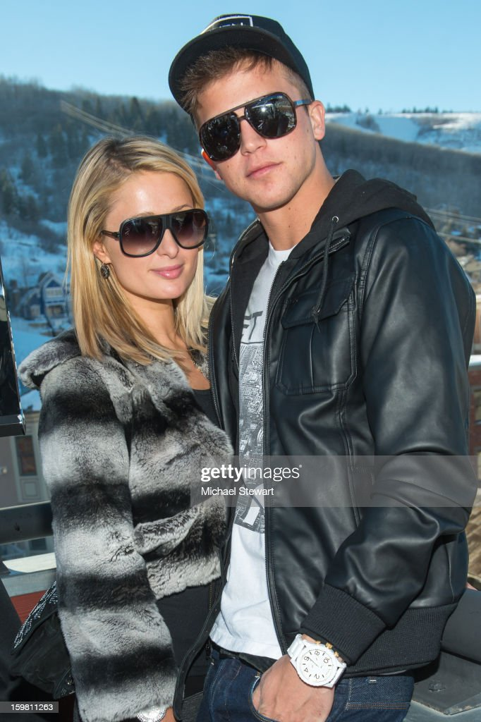 Paris Hilton (L) and River Viiperi attend Paige Hospitality Game Watch at Sky Bar on January 20, 2013 in Park City, Utah.