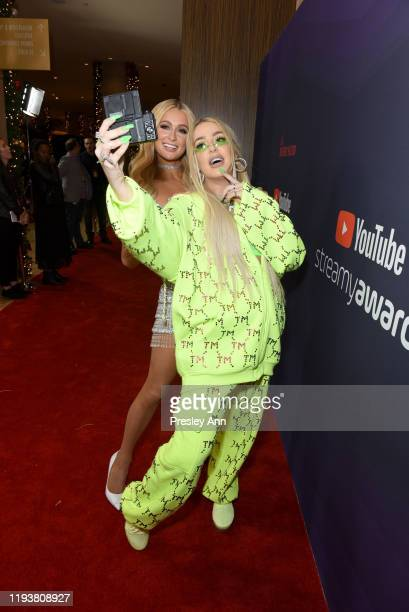 Paris Hilton and Tana Mongeau attend The 9th Annual Streamy Awards on December 13 2019 in Los Angeles California