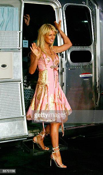 Paris Hilton aririves for the Simple Life 2 Welcome Home Party at The Spider Club on April 14 2004 in Hollywood California