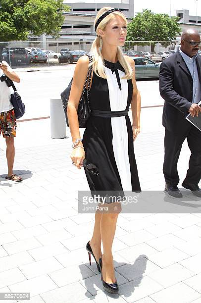 Paris Hilton arrives at a Miami court where she is involved a breach of contract suit on July 9 2009 in Miami Florida