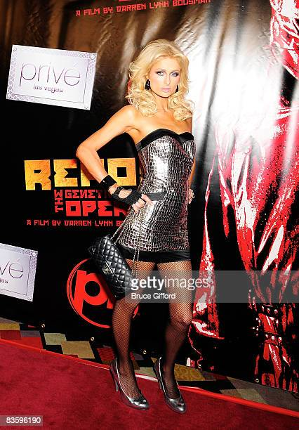 Paris Hilton arrives at a special screening of the Lionsgate film 'Repo The Genetic Opera' at the Planet Hollywood Resort Casino November 6 2008 in...