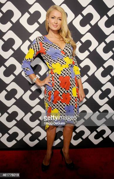 Paris Hilton arrives at Diane Von Furstenberg's Journey Of A Dress premiere opening party at Wilshire May Company Building on January 10 2014 in Los...