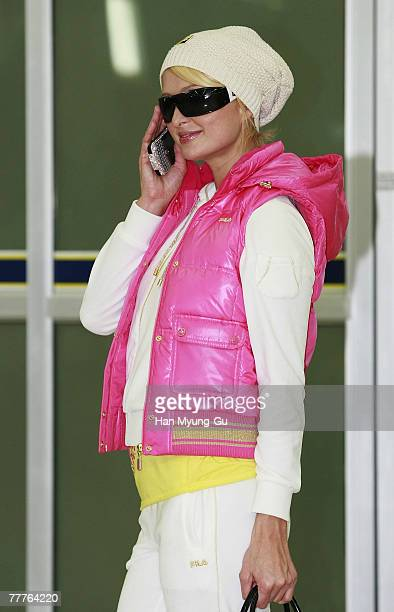 Paris Hilton arrives at Gimpo International Airport on November 7 in Seoul South Korea