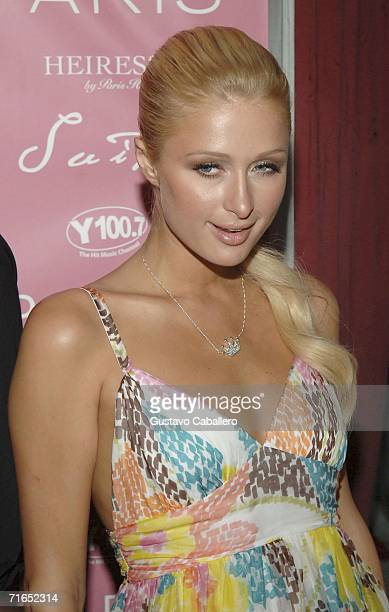 Paris Hilton arrives at her CD release party at Suite nightclub in South Beach on August 15 2006 in Miami Beach Florida