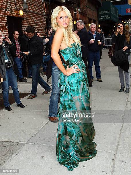 Paris Hilton arrives at Late Show With David Letterman at the Ed Sullivan Theater on February 17 2011 in New York City