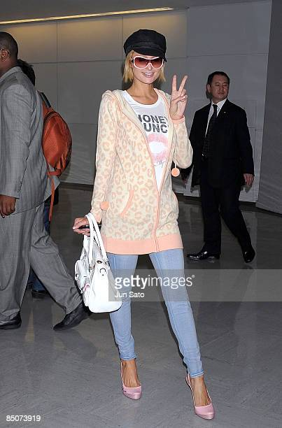 Paris Hilton arrives at Narita International Airport on February 25 2009 in Narita Chiba Japan