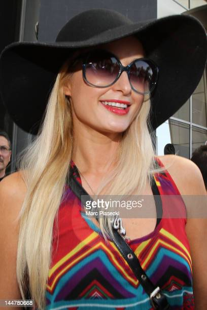 Paris Hilton arrives at Nice airport to attend the international Cannes Film Festival on May 19, 2012 in Nice, France.