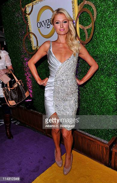 Paris Hilton arrives at premiere of Oxygen's New DocuSeries 'The World According To Paris' at Tropicana Bar at The Hollywood Roosevelt on May 17 2011...