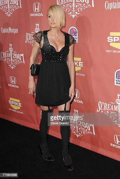 Paris Hilton arrives at Spike TV's 'Scream 2007' held at The Greek Theatre on October 19 2007 in Los Angeles California