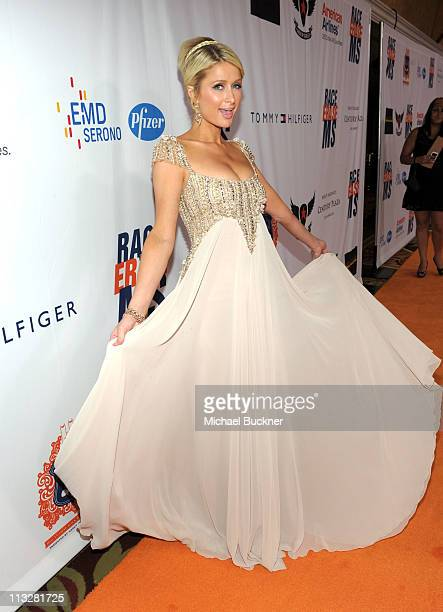 Paris Hilton arrives at the 18th Annual Race to Erase MS event co-chaired by Nancy Davis and Tommy Hilfiger at the Hyatt Regency Century Plaza on...