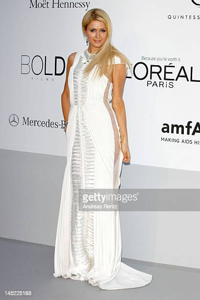 Paris Hilton arrives at the 2012 amfAR's Cinema Against AIDS during the 65th Annual Cannes Film Festival at Hotel Du Cap on May 24 2012 in Cap...