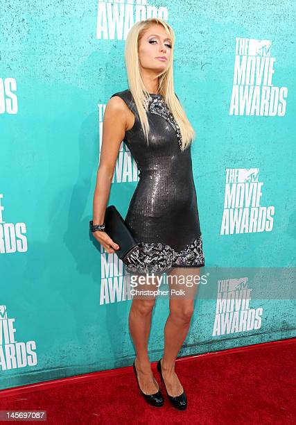Paris Hilton arrives at the 2012 MTV Movie Awards held at Gibson Amphitheatre on June 3 2012 in Universal City California