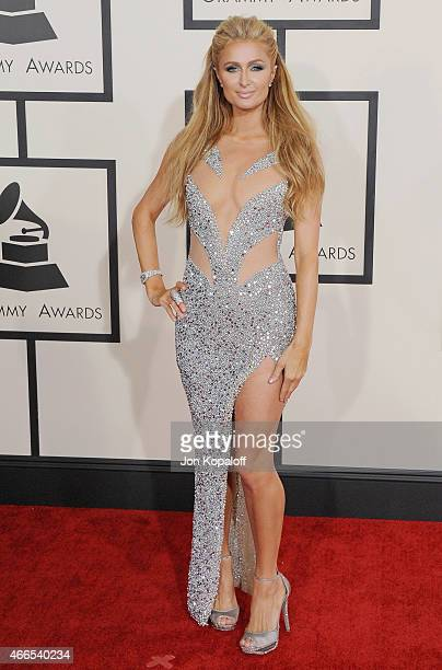 Paris Hilton arrives at the 57th GRAMMY Awards at Staples Center on February 8, 2015 in Los Angeles, California.