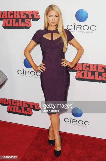 "Paris Hilton arrives at the Los Angeles Premiere ""Machete Kills"" at Regal Cinemas L.A. Live on October 2, 2013 in Los Angeles, California."