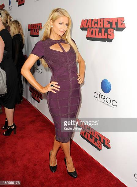 Paris Hilton arrives at the premiere of Open Road Films' Machete Kills at Regal Cinemas LA Live on October 2 2013 in Los Angeles California