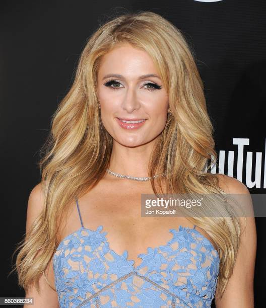 Paris Hilton arrives at the premiere of YouTube's 'Demi Lovato Simply Complicated' on October 11 2017 at the Fonda Theatre in Los Angeles California