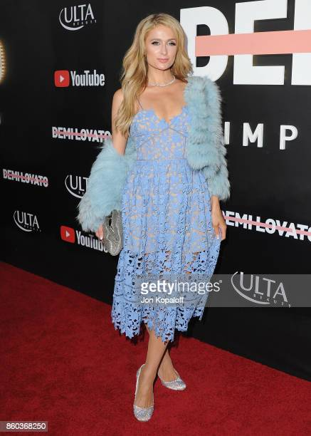 Paris Hilton arrives at the premiere of YouTube's Demi Lovato Simply Complicated on October 11 2017 at the Fonda Theatre in Los Angeles California