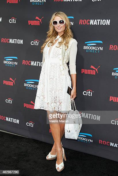Paris Hilton arrives at the Roc Nation PreGRAMMY Brunch on February 7 2015 in Beverly Hills California