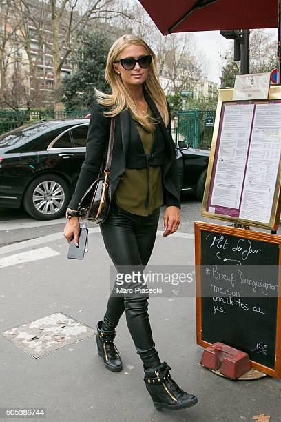Paris Hilton arrives at the 'SIP Babylone' restaurant on January 17 2016 in Paris France