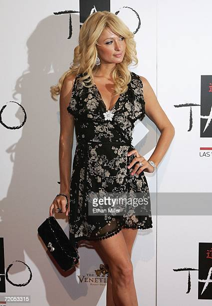 Paris Hilton arrives at the Tao Nightclub at the Venetian Resort Hotel Casino during the club's anniversary party September 30 2006 in Las Vegas...