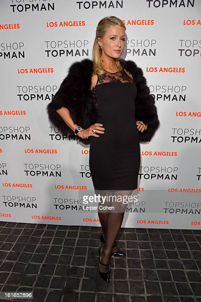 Paris Hilton arrives at the Topshop Topman LA Opening Party at Cecconi's West Hollywood on February 13 2013 in Los Angeles California