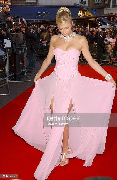 Paris Hilton arrives at the UK Premiere of House of Wax at Vue Leicester Square on May 24 2005 in London England