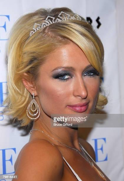 Paris Hilton arrives to celebrate a Burlesque Birthday at the Pure Nightclub Caesars Palace on February 16 2008 in Las Vegas Nevada
