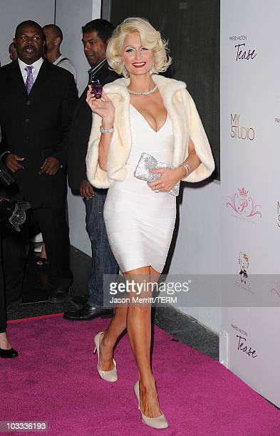 Paris Hilton arrives to the launch party for her new fragrance Tease on August 10 2010 in Los Angeles California