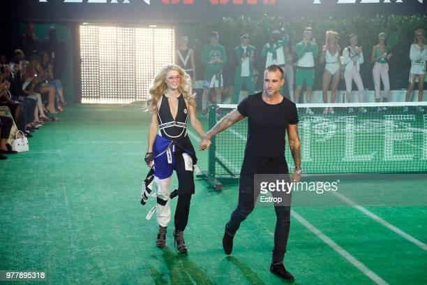 Paris Hilton at the Plein Sport show during Milan Men's Fashion Week Spring/Summer 2019 on June 16 2018 in Milan Italy