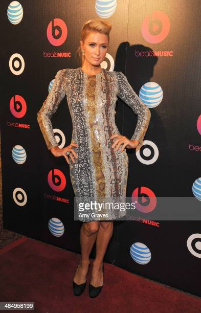 Paris Hilton attends Beats Music Launch Party At Belasco Theatre at Belasco Theatre on January 24 2014 in Los Angeles California
