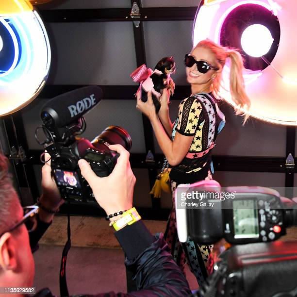 Paris Hilton attends Christian Cowan x The Powerpuff Girls Runway Show at City Market Social House on March 08 2019 in Los Angeles California