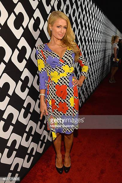 Paris Hilton attends Diane Von Furstenberg's Journey of A Dress Exhibition Opening Celebration at May Company Building at LACMA West on January 10,...