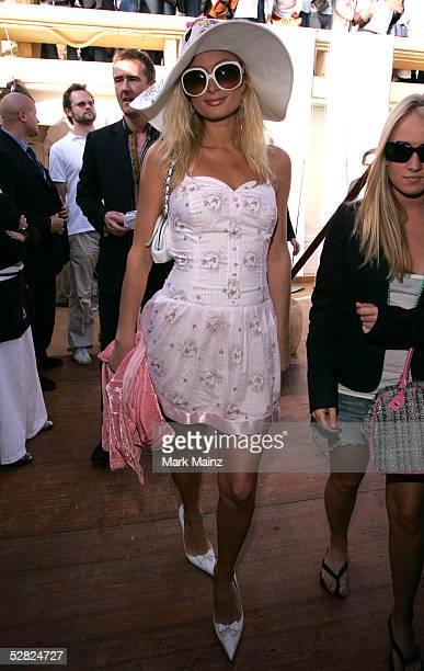 Paris Hilton attends HBO Films/Newline cinema cocktail reception at Nikki Beach during the 58th International Cannes Film Festival May 14 2005 in...