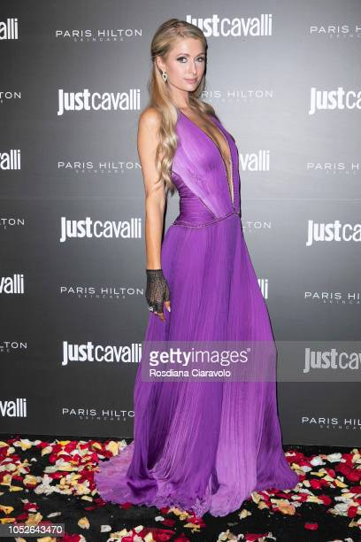 Paris Hilton attends Paris Hilton ProDNA lunch party at Just Cavalli Cafe on October 20, 2018 in Milan, Italy.