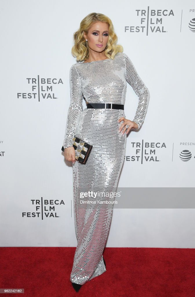 Paris Hilton attends the 2018 Tribeca Film Festival World Premiere of Bert Marcus' THE AMERICAN MEME on April 27, 2018 at Spring Studios in New York City.