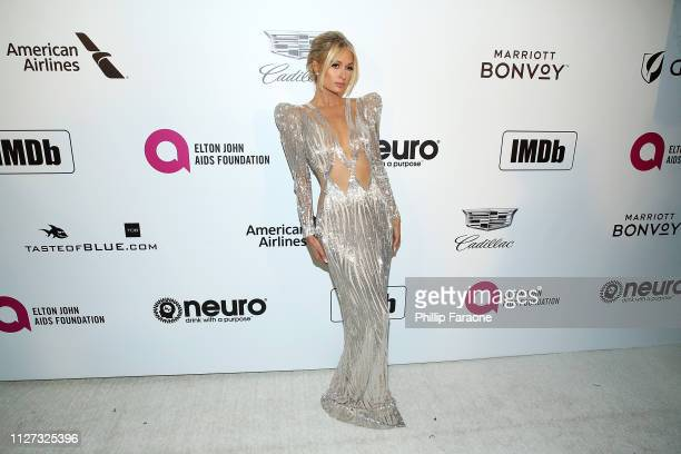 Paris Hilton attends the 27th Annual Elton John AIDS Foundation Academy Awards Viewing Party Celebrating EJAF and The 91st Academy Awards on February...