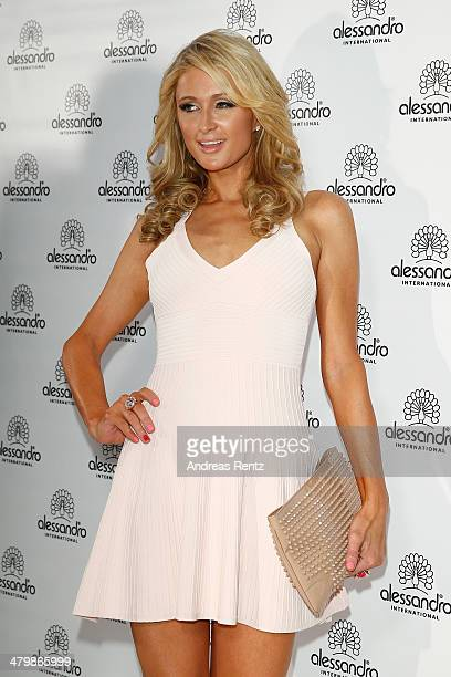 Paris Hilton attends the Alessandro International Striplac presentation at the Beauty fair on March 21 2014 in Dusseldorf Germany