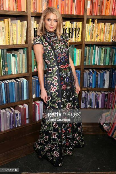 Paris Hilton attends the Alice Olivia by Stacey Bendet presentation during New York Fashion Week The Shows at Industria Studios on February 13 2018...