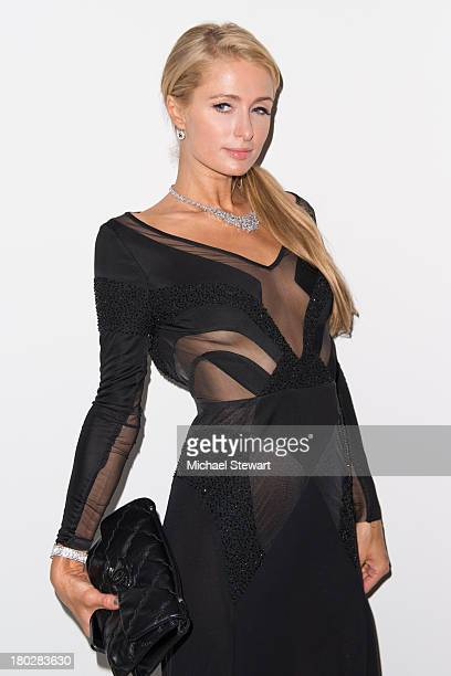 Paris Hilton attends the Alon Livne show during Spring 2014 MercedesBenz Fashion Week at The Studio at Lincoln Center on September 10 2013 in New...