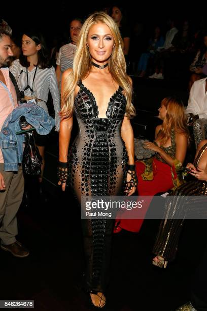 Paris Hilton attends The Blonds fashion show during New York Fashion Week The Shows at Gallery 1 Skylight Clarkson Sq on September 12 2017 in New...