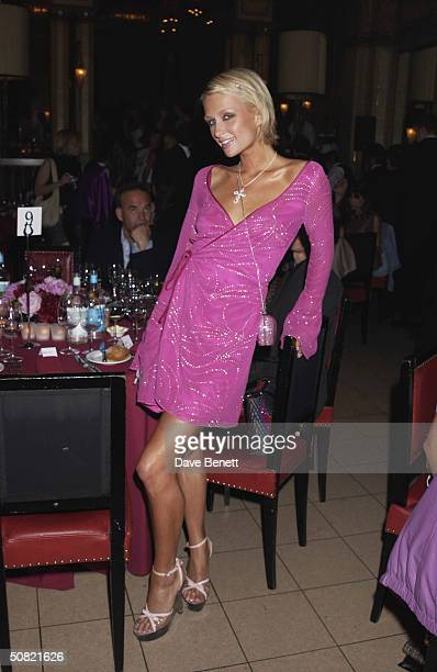Paris Hilton attends the MAC Cosmetics Charity Party to support Aids in London in honour of Mary J Blige at The Criterion Restaurant on April 23 2002...