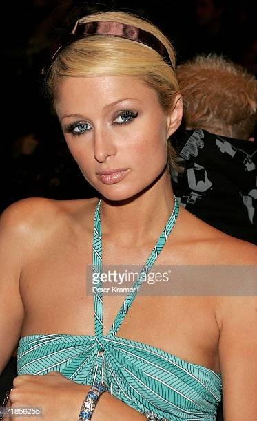Paris Hilton attends the Max Azria Collection Spring 2007 fashion show during Olympus Fashion Week in the Tent in Bryant Park September 11 2006 in...