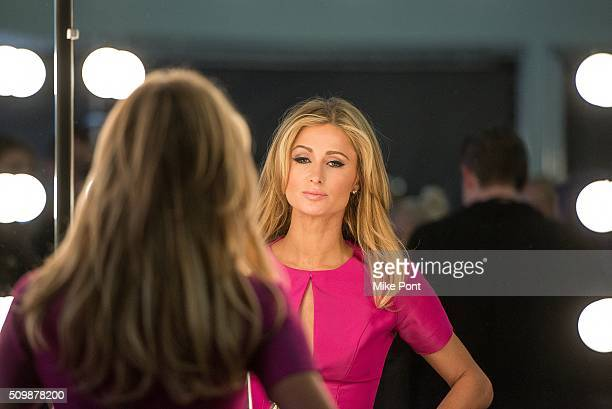 Paris Hilton attends the Pamella Roland Fall 2016 fashion show at Pier 59 Studios on February 12 2016 in New York City