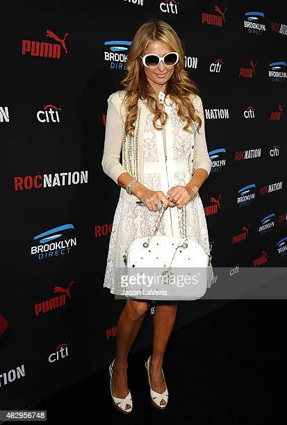 Paris Hilton attends the Roc Nation Grammy brunch on February 7 2015 in Beverly Hills California