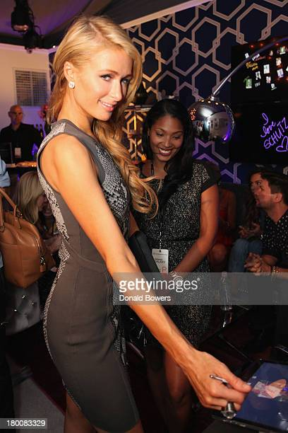 Paris Hilton attends the Samsung Galaxy Blue Room at MercedesBenz Fashion Week Spring 2014 Collections at Lincoln Center on September 8 2013 in New...