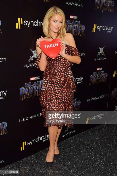 Paris Hilton attends the screening of Marvel Studios' 'Black Panther' hosted by The Cinema Society on February 13 2018 in New York City